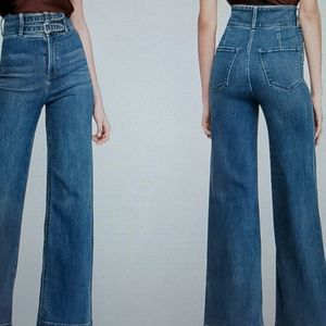 Super High waisted stretch wide leg jeans